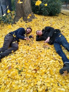 Students enjoying fall in Montpellier